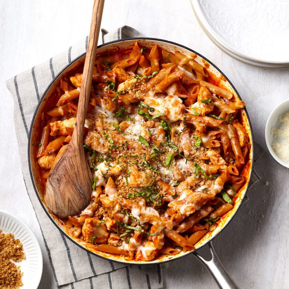 One-Pan Chicken Parmesan Pasta Recipe - EatingWell