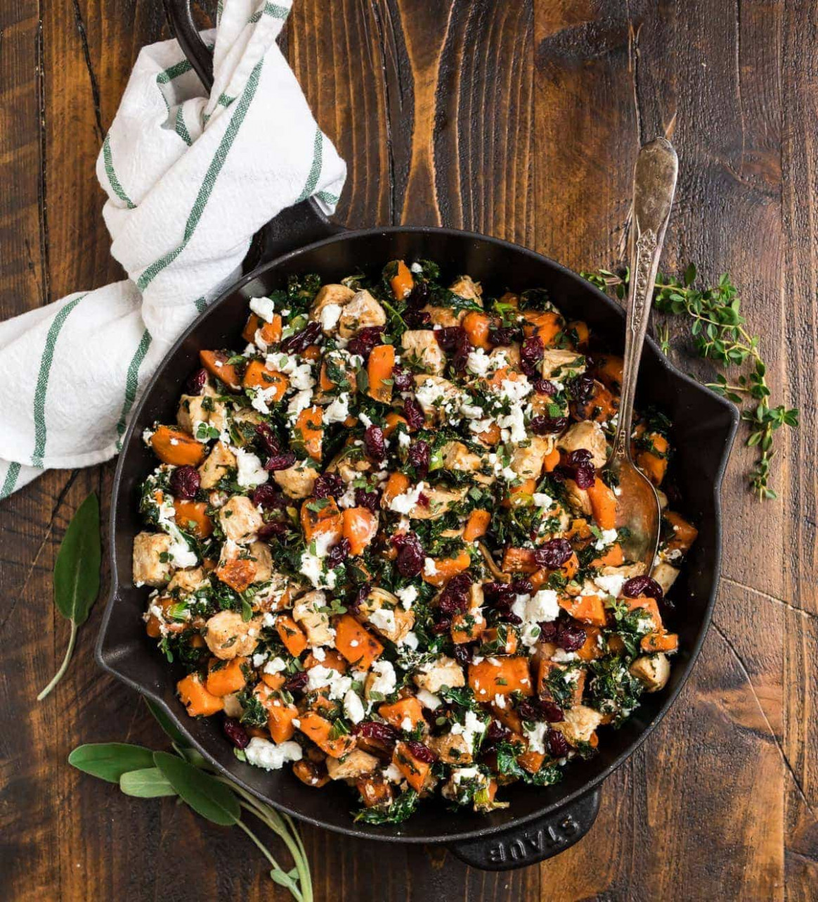 One Pan Chicken with Sweet Potatoes Kale and Cranberries