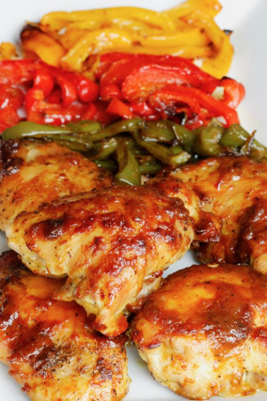 One Pan Oven-Baked Chicken and Peppers | Recipe | Easy ...