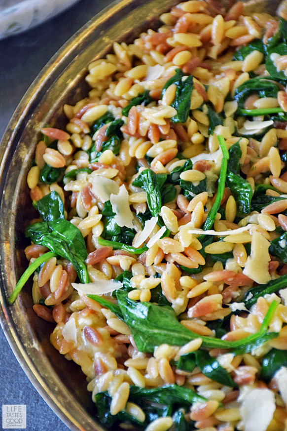 Orzo Pasta with Spinach and Parmesan | Life Tastes Good