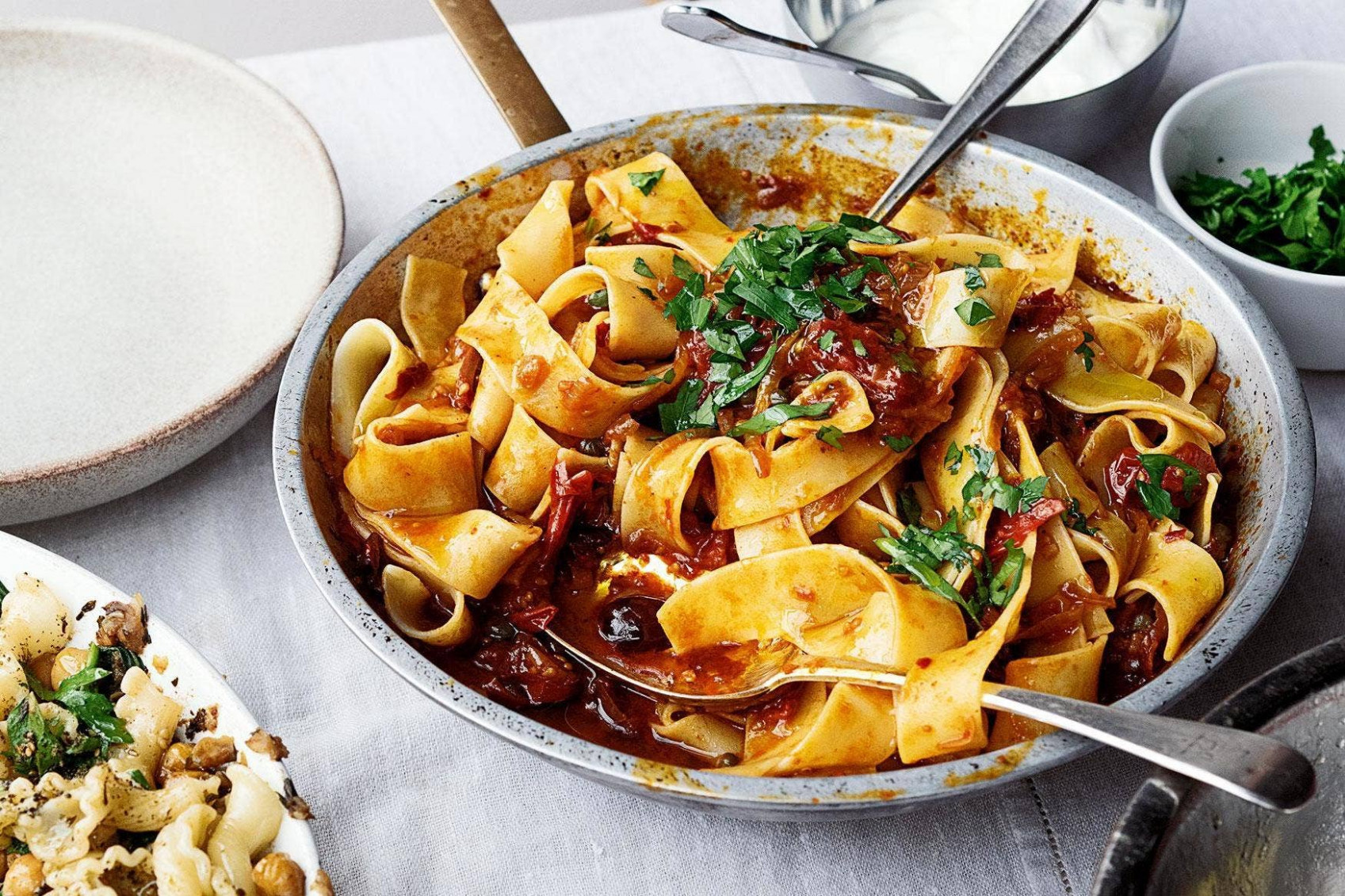 Ottolenghi Simple: pappardelle with rose harissa, black ...