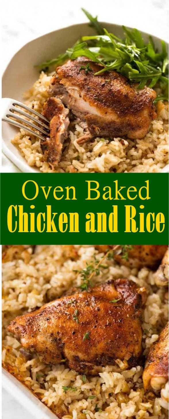 Oven Baked Chicken and Rice #Oven #Baked #Chicken #Rice # ...