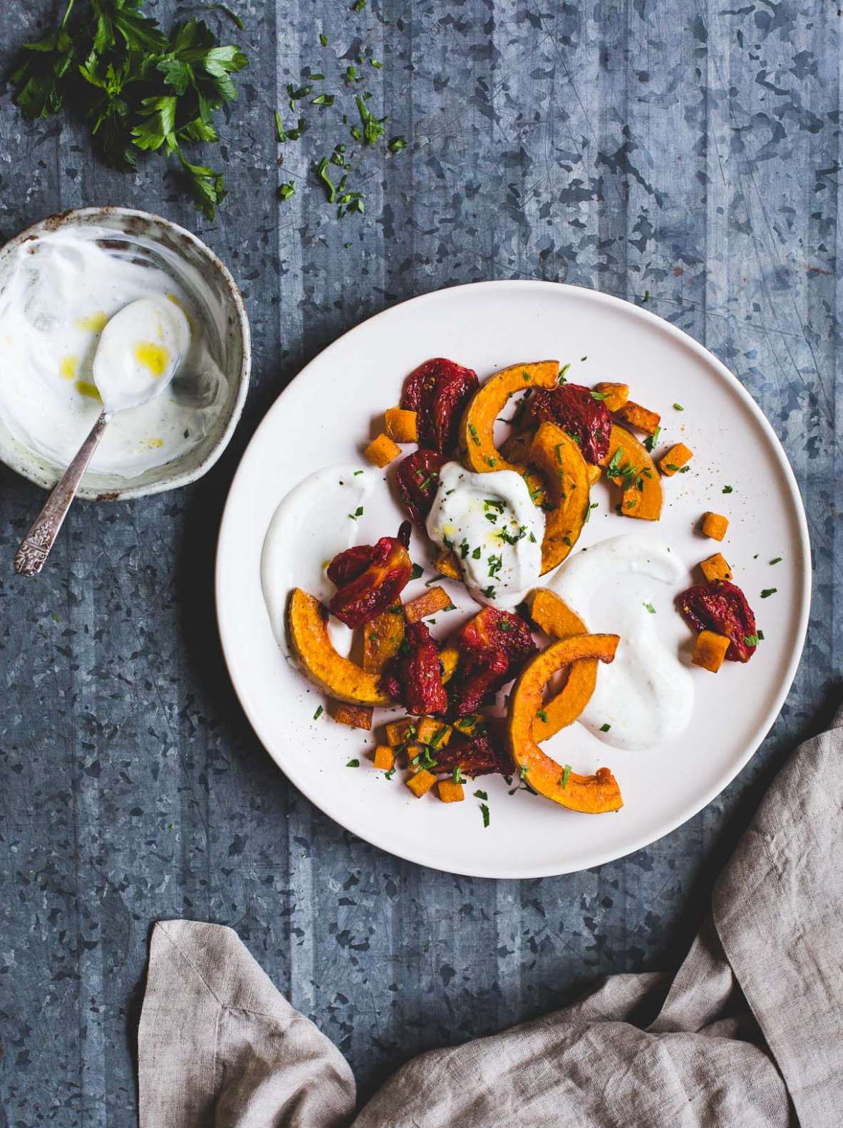Oven Roasted Butternut Squash and Tomatoes with Yogurt Sauce