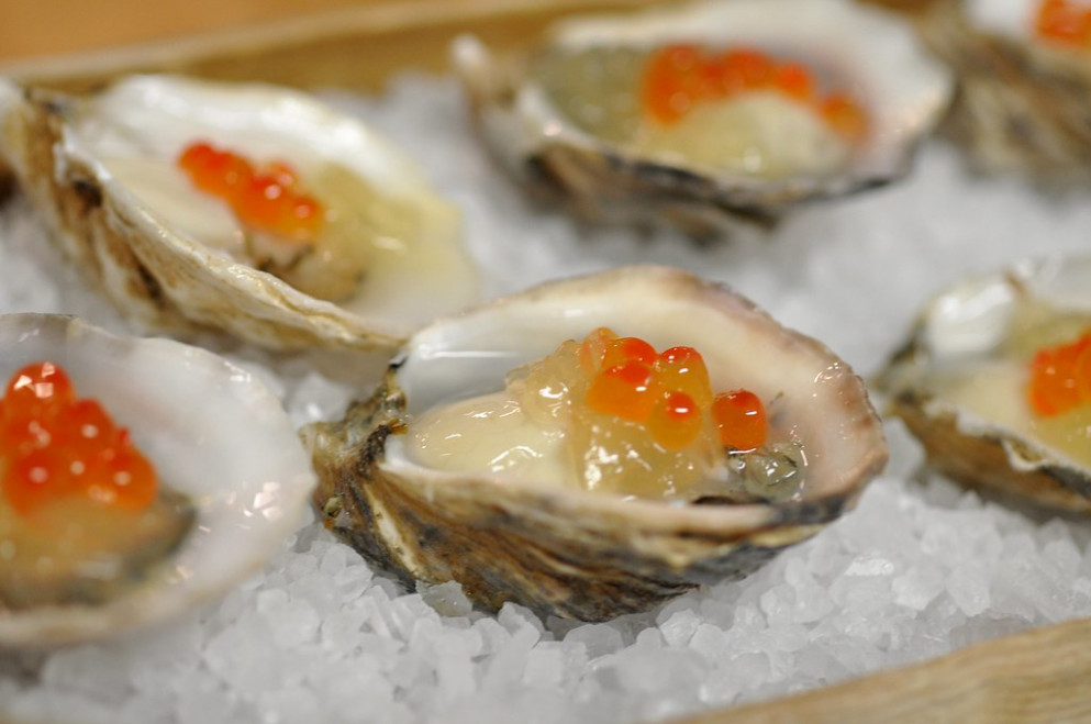 Oysters and Ikura, by Uchi for Chef Surprise at RecipeHouse