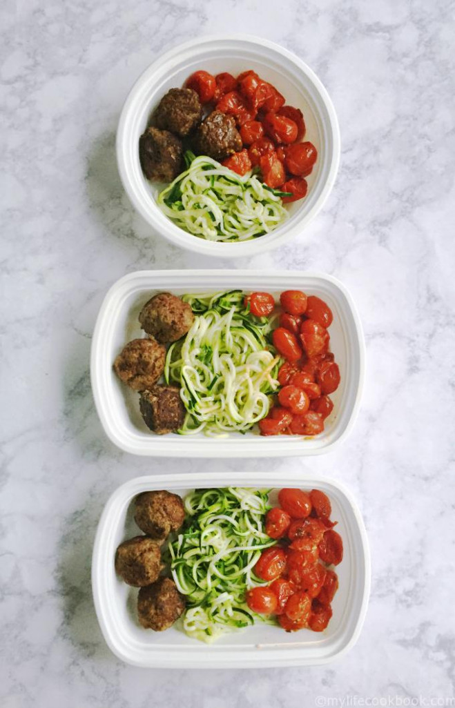 Paleo Meatballs with Zoodles (Freezable Healthy Lunches ...