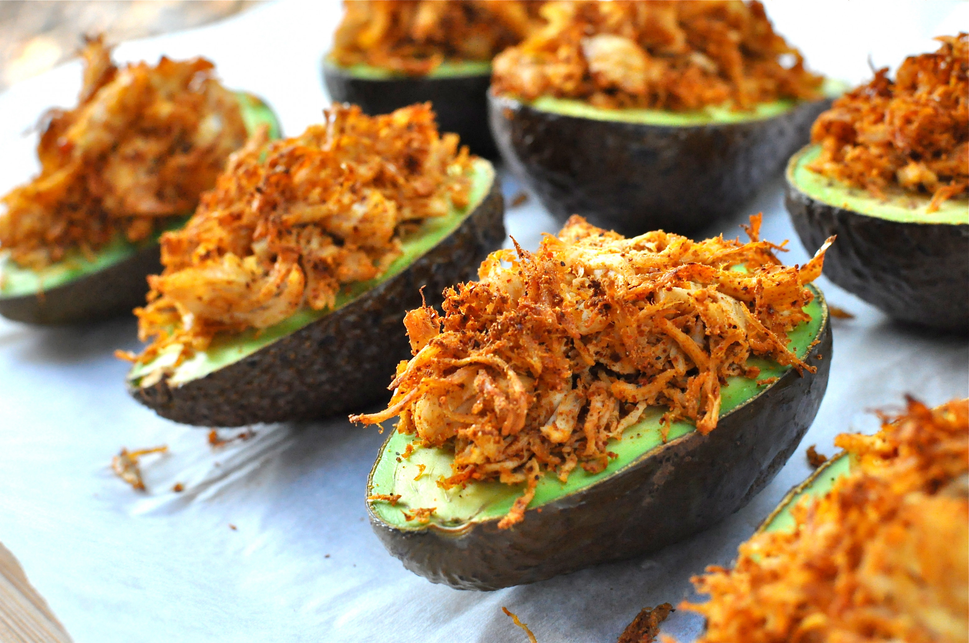 Paleo Stuffed Avocados with Cilantro Cream Sauce - Fed & Fit