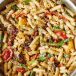 Pasta, Bell Peppers, And Asparagus In A Creamy Sun Dried …
