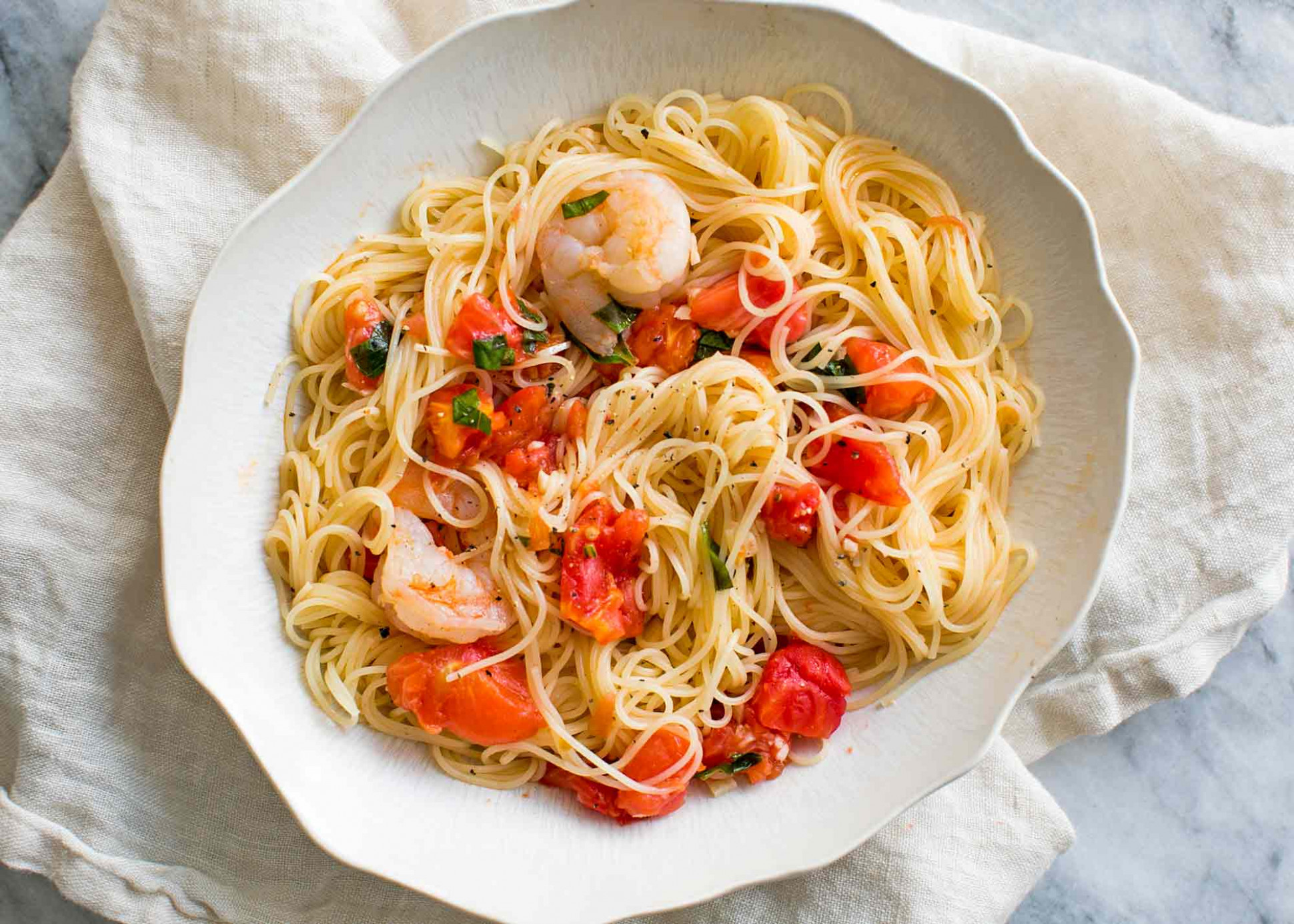 Pasta Pomodoro with Shrimp Recipe | SimplyRecipes.com