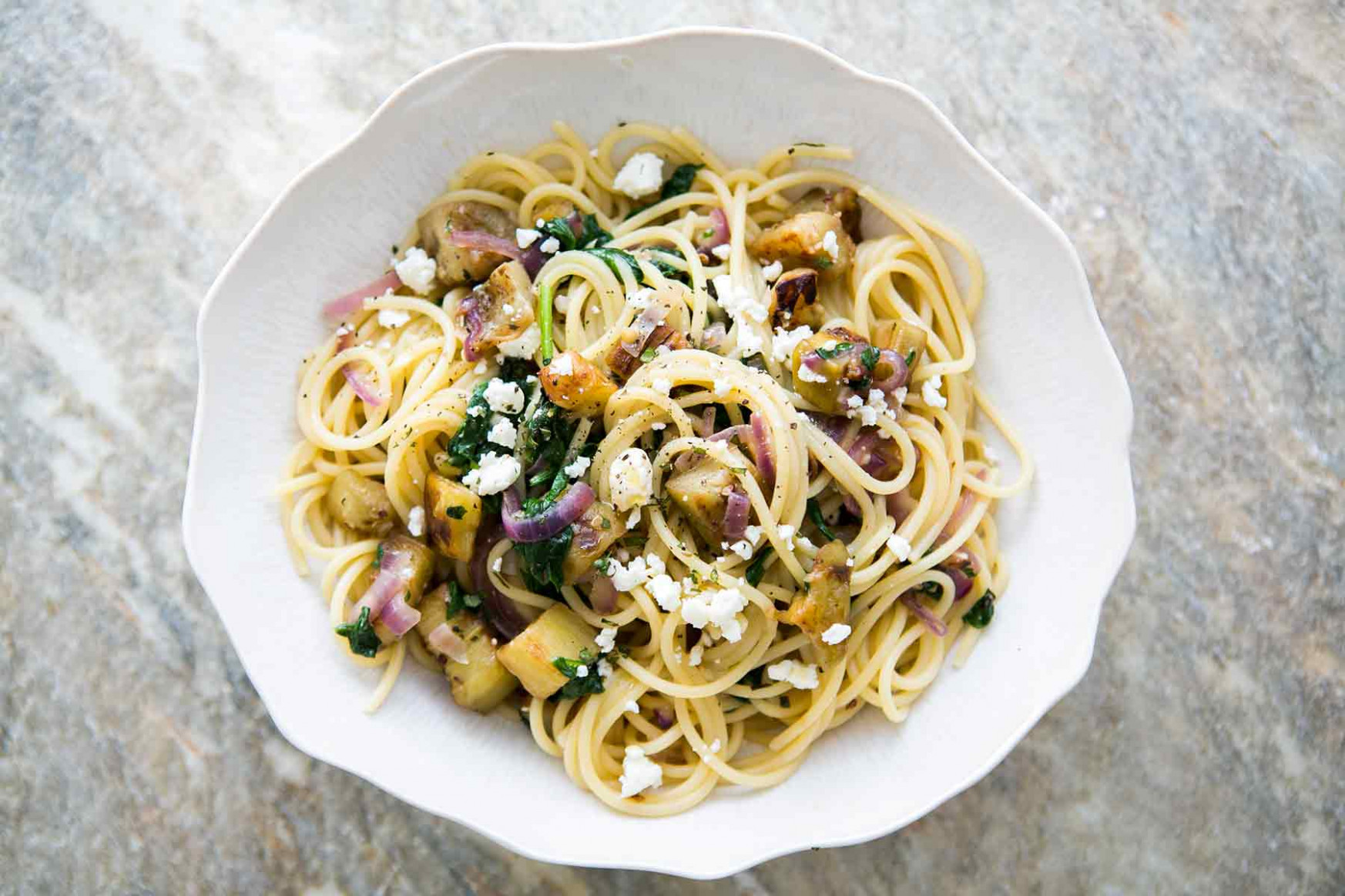 Pasta with Eggplant, Feta, and Mint