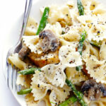 Pasta With Goat Cheese, Chicken, Asparagus & Mushrooms …