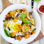 Pasta With Loads Of Basil & Fried Eggs