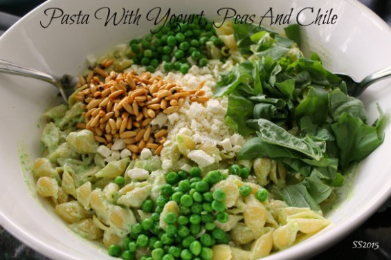 » Pasta with Yogurt, Peas, and Chile Shredded Sprout