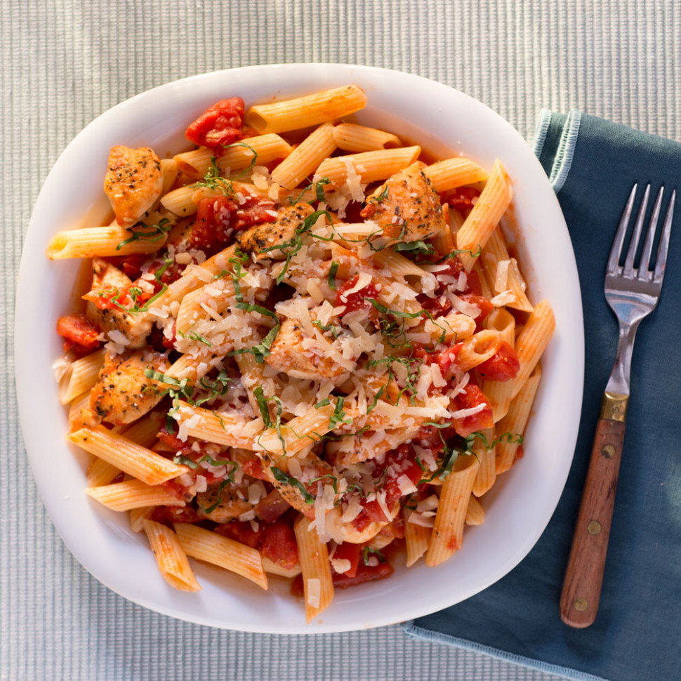 Penne & Chicken Tenderloins & Spiced Tomato Sauce Recipe ...
