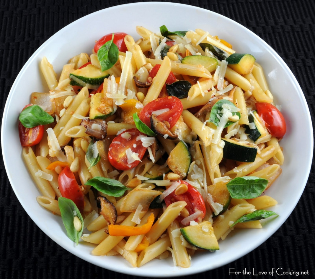 Penne with Mixed Vegetables, Parmesan Cheese, and Pine ...