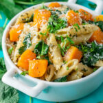 Pesto Pasta With Roasted Butternut Squash And Kale