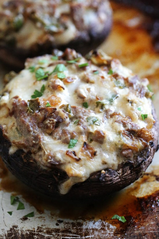 Philly Cheesesteak Stuffed Portobello Mushrooms | Skinnytaste