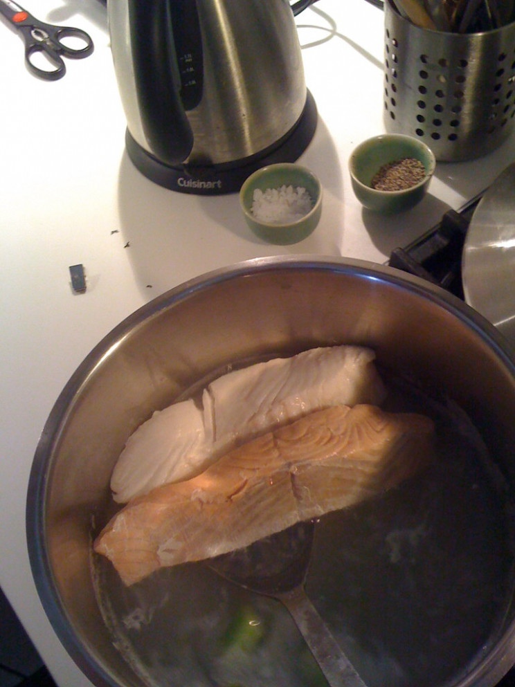 Poached salmon and halibut