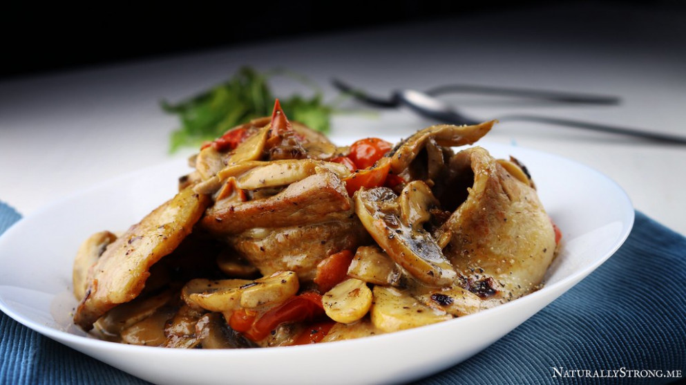Pork Belly with Mushrooms and Cherry Tomatoes