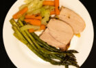 Pork with Herbs and Vegetables & Quick Roasted Asparagus with Parmesan Cheese