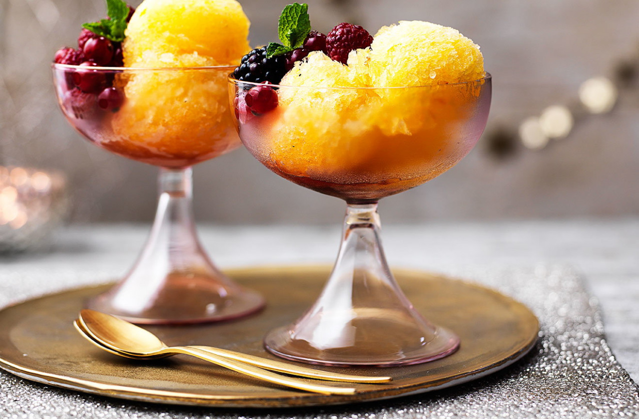 Prosecco And Tangerine Sorbet With Red Berries | Tesco …