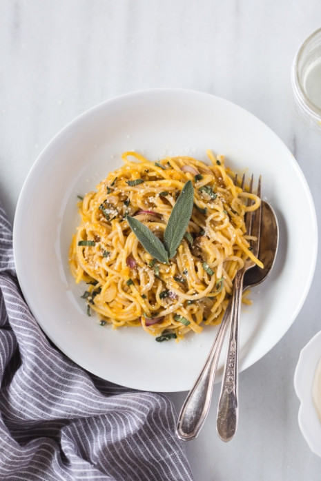 Pumpkin Creme Fraiche Pasta with Sage - Foolproof Living