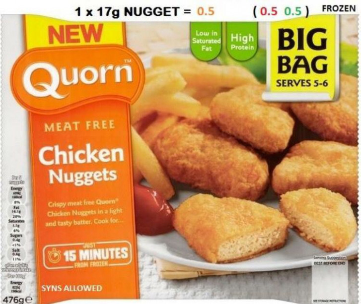 Quorn chicken nuggets 0.5 syns per nugget   Slimming world ...