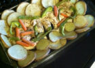 Recipe: frozen chicken breasts, cut up two potatoes (raw ...