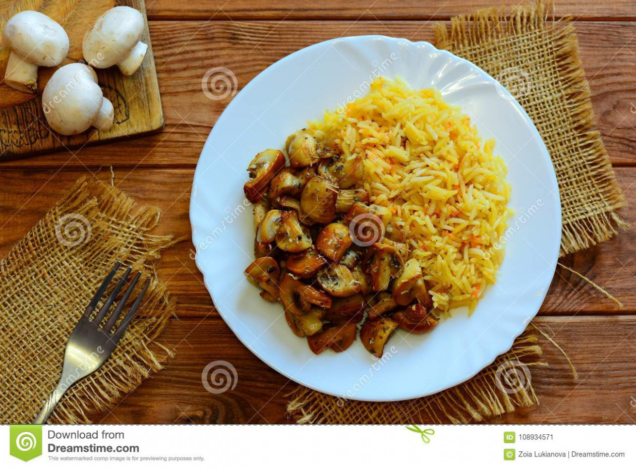 Rice With Fried Mushrooms. Easy Rice Basmati With Fried …