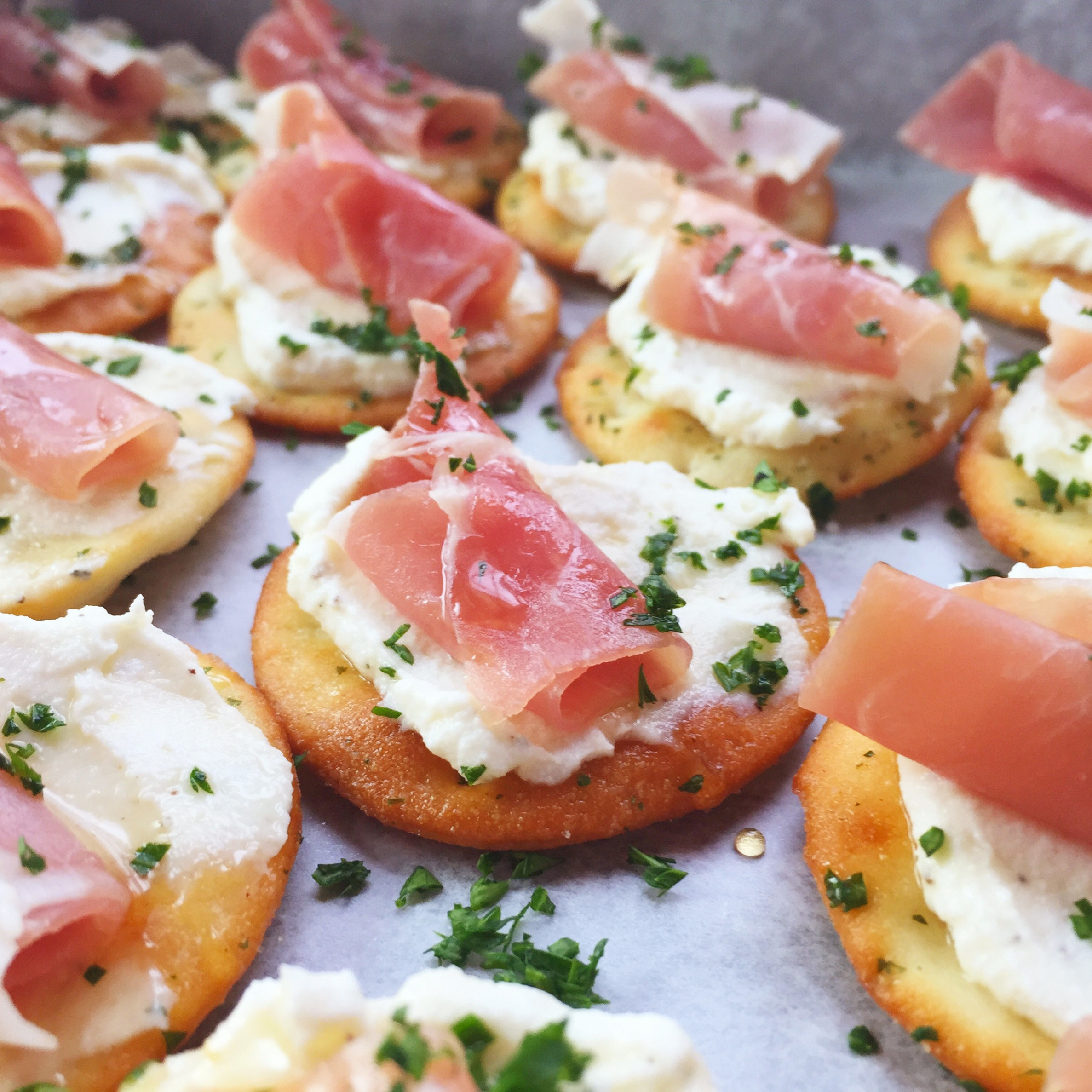Ricotta and Prosciutto Cracker Appetizer - Seasonly Creations