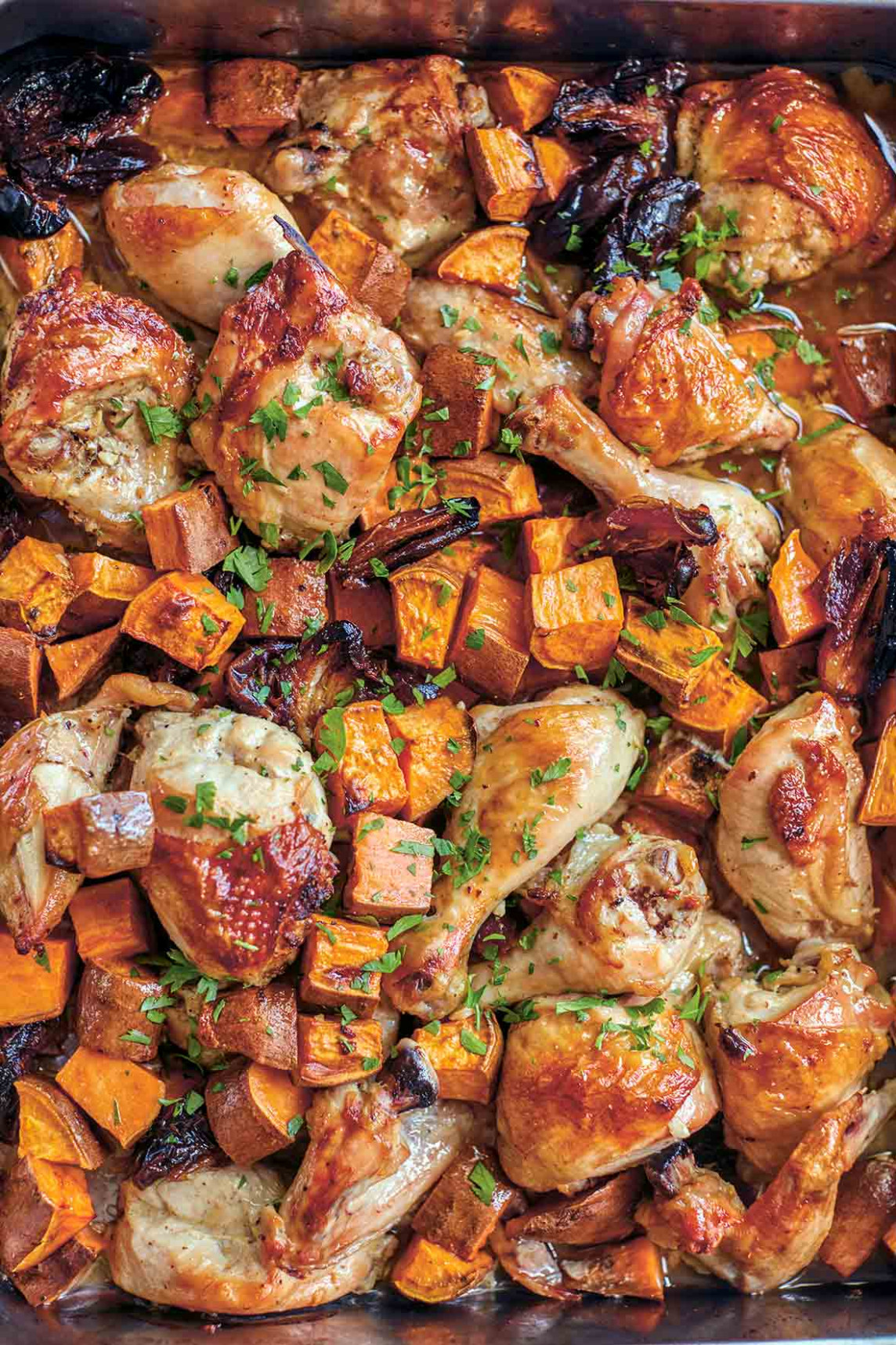 Roast Chicken with Sweet Potatoes and Dates