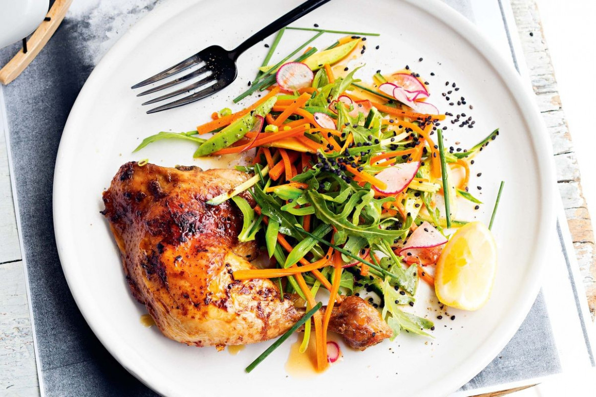 Roast yuzu chicken with Japanese slaw - Recipes ...
