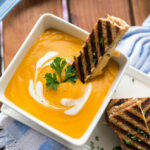 Roasted Butternut Garlic Bisque With Grilled 3 Cheese Sandwich Sticks