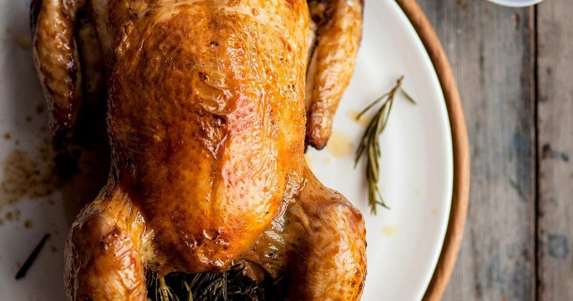 Roasted Chicken scented with Lemon and Rosemary, with a ...