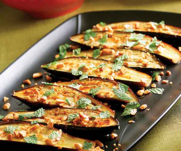 Roasted Eggplant with Chiles, Peanuts & Mint - Recipe ...