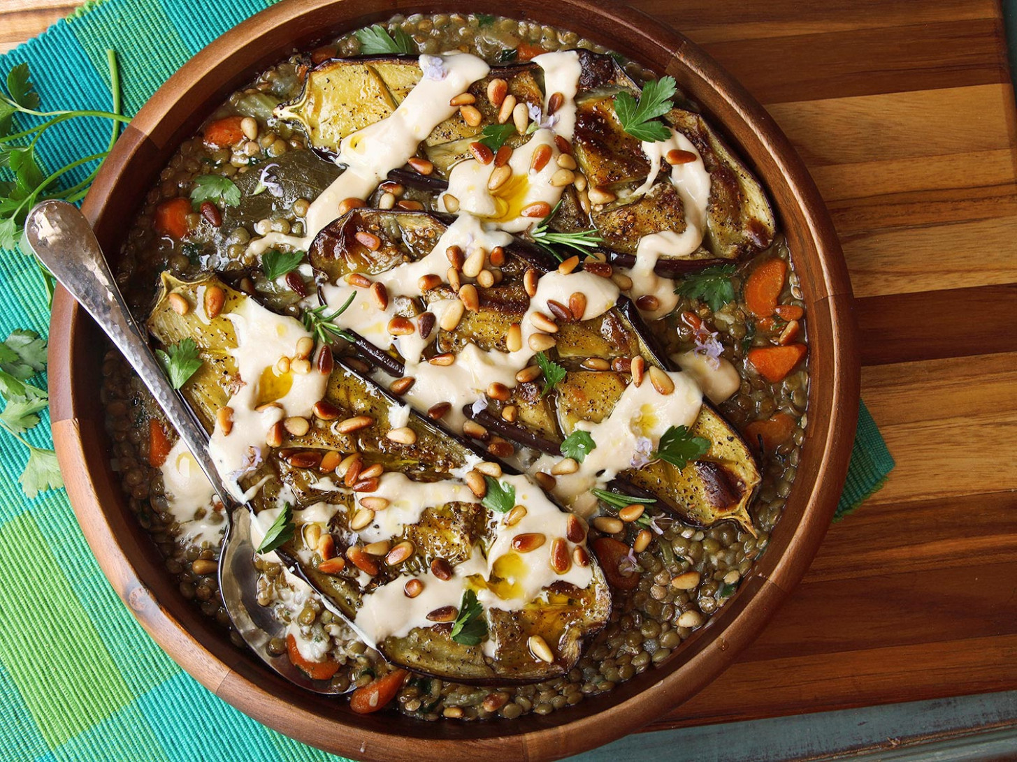 Roasted Eggplant With Tahini, Pine Nuts, and Lentils ...