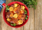 Roasted free range organic Chicken dinner with potatoes, carrots,..