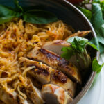 Roasted Red Pepper Spaghetti Squash And Grilled Chicken