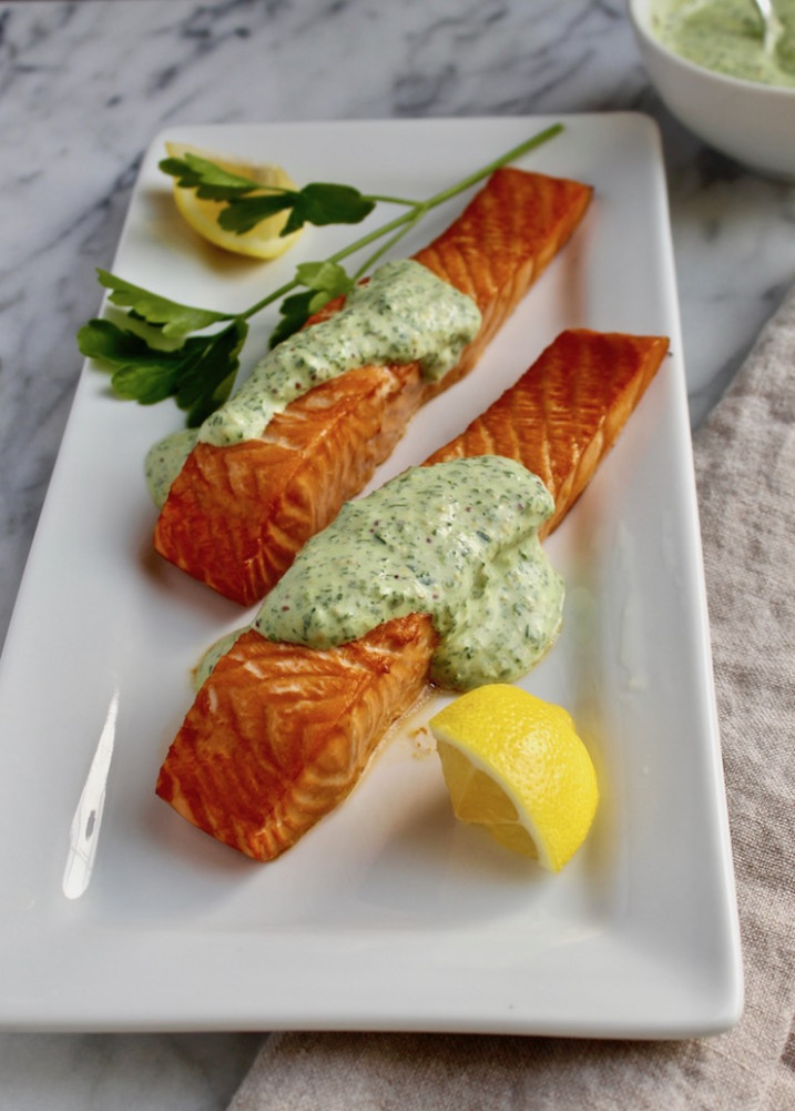 Roasted Salmon with 'Greens' Mustard Sauce Recipe