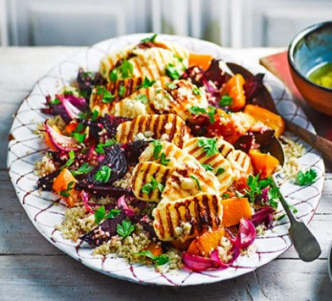 Roasted vegetable quinoa salad with griddled halloumi ...