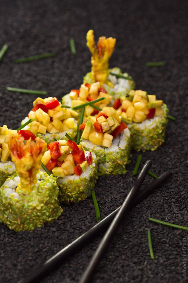 Roll with tempura shrimp in wasabi sesame with pineapple, avocado and pepper salsa