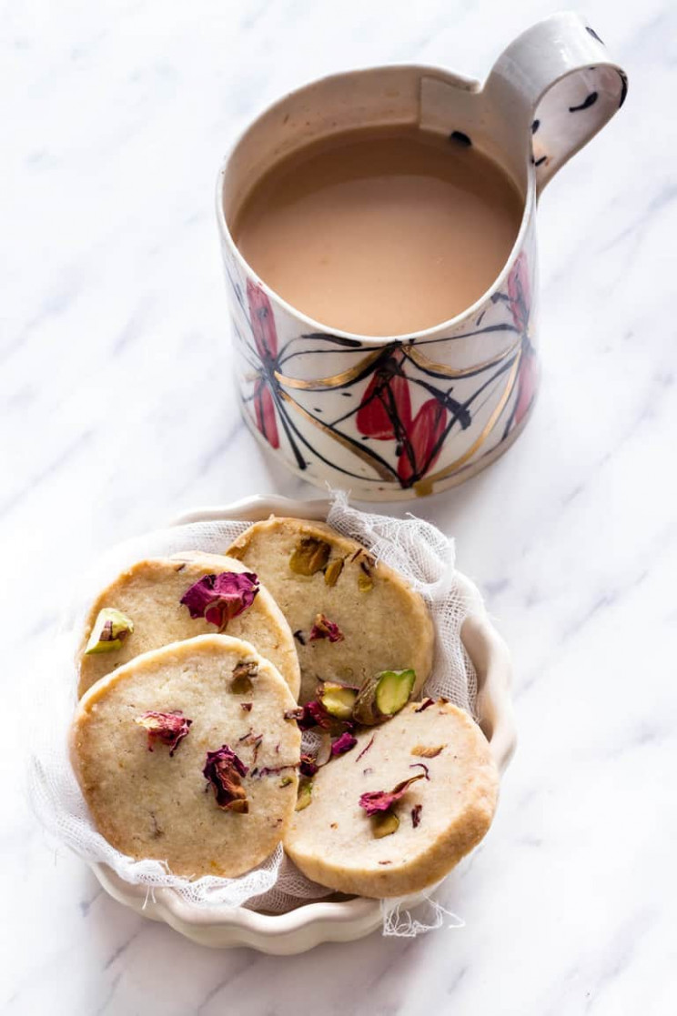 Rose Pistachio Cookies Shortbread - Recipes From A Pantry