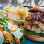 Rosemary Garlic Chicken Burger With Arugula, Fennel, Apricots And Pistachio Salad