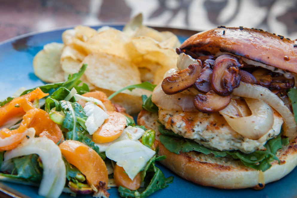 Rosemary-Garlic Chicken Burger with Arugula, Fennel, Apricots and Pistachio Salad