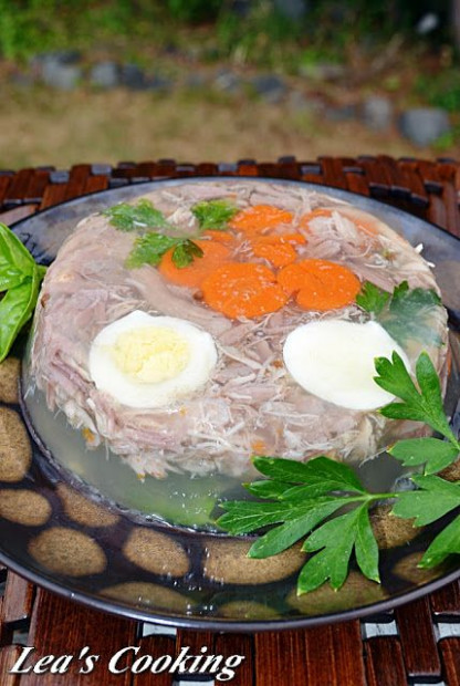 Russian holodets. Jellied minced meat, holodets, studen ...