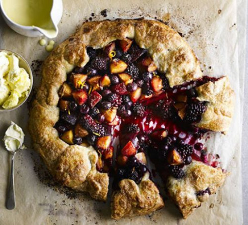 Rustic harvest fruit tart recipe | BBC Good Food