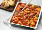 Sausage and potato casserole with garlic bread