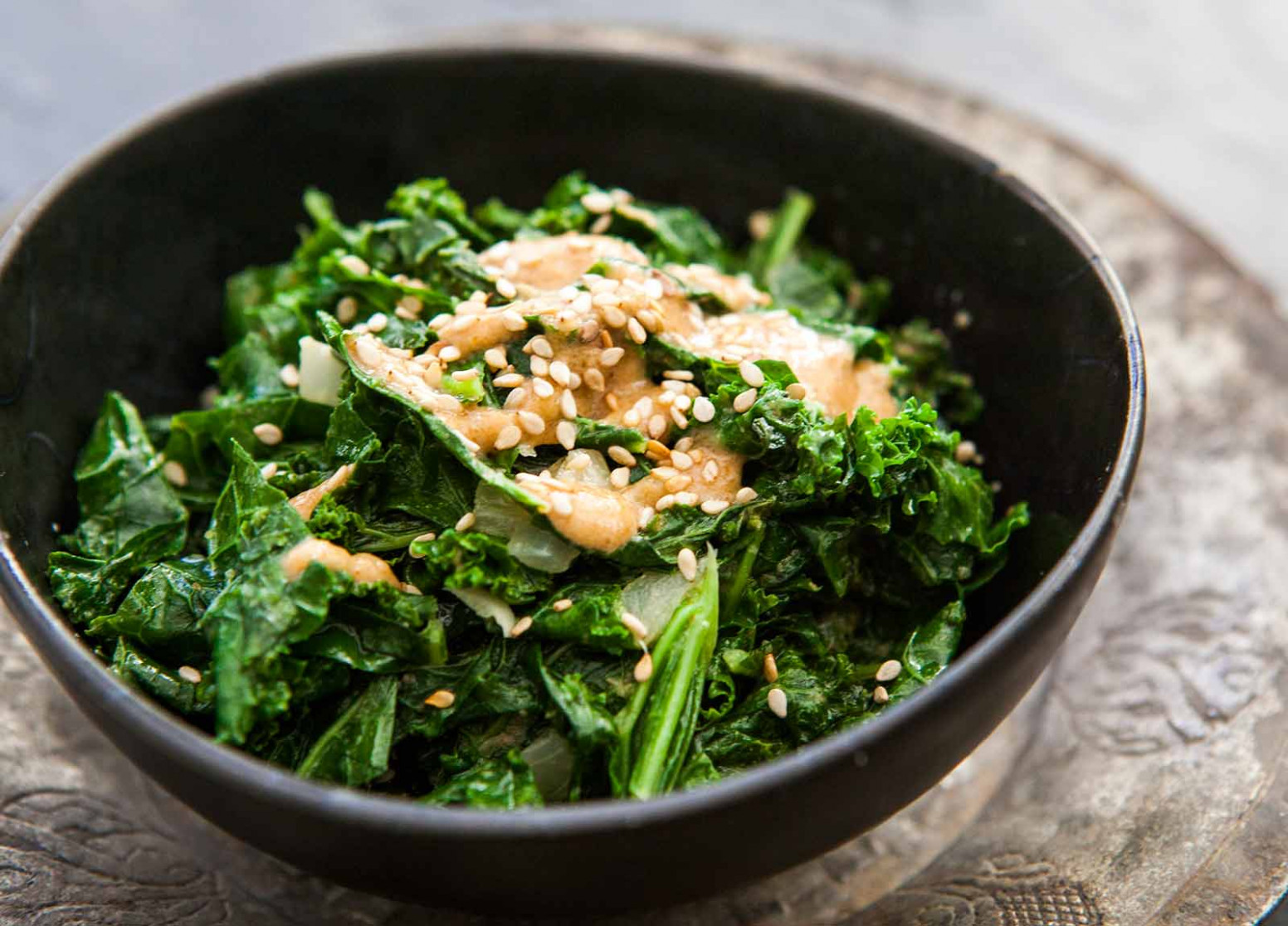 Sautéed Kale with Tahini Sauce Recipe | SimplyRecipes.com