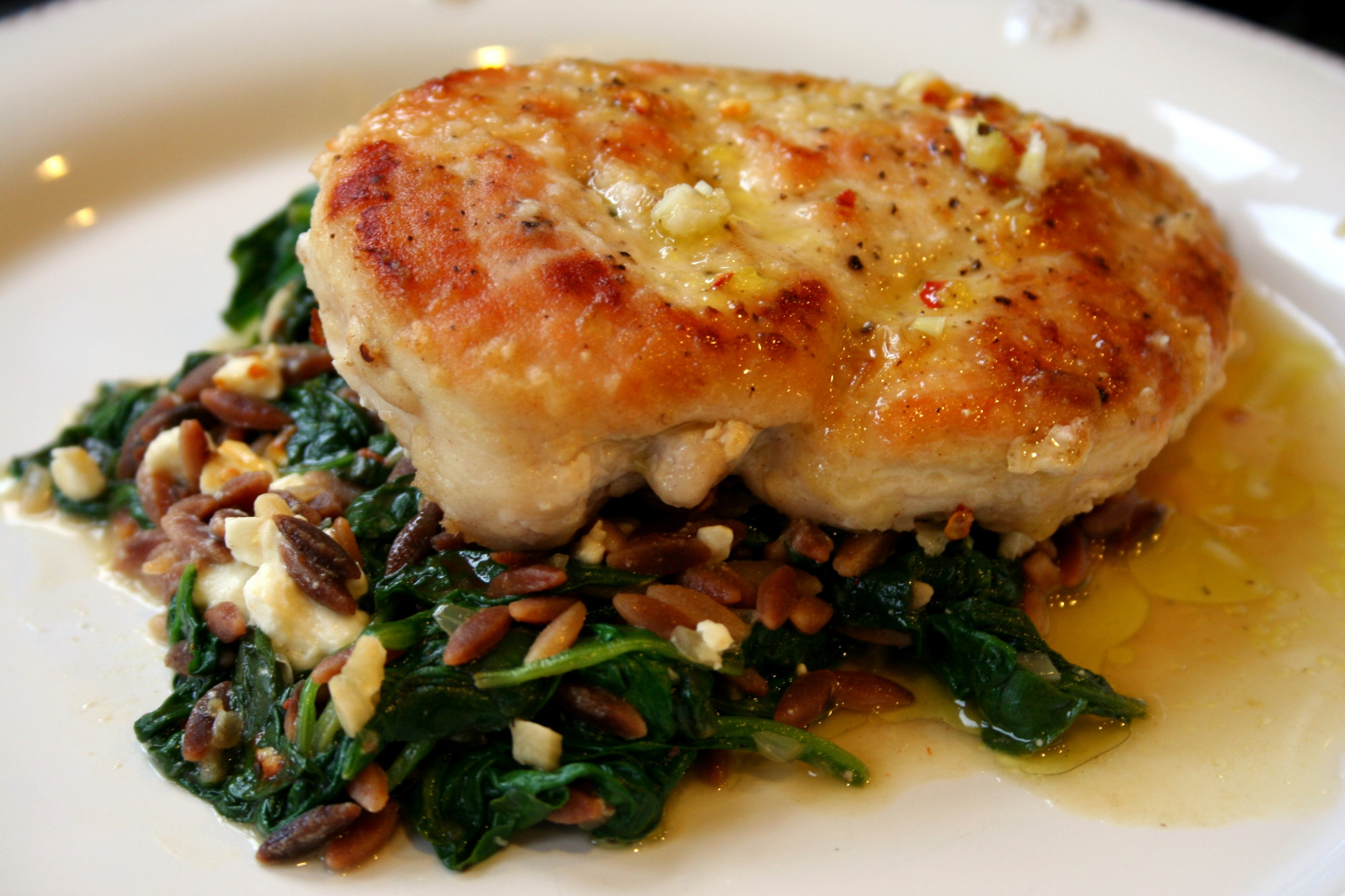 Sautéed Chicken With Spinach And Feta Orzo | Steeltown Delicious