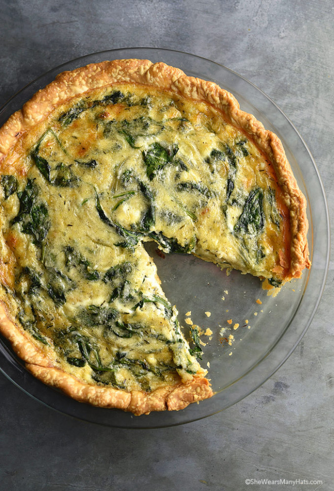 Sautéed Onion Gruyere Spinach Quiche Recipe | She Wears ...