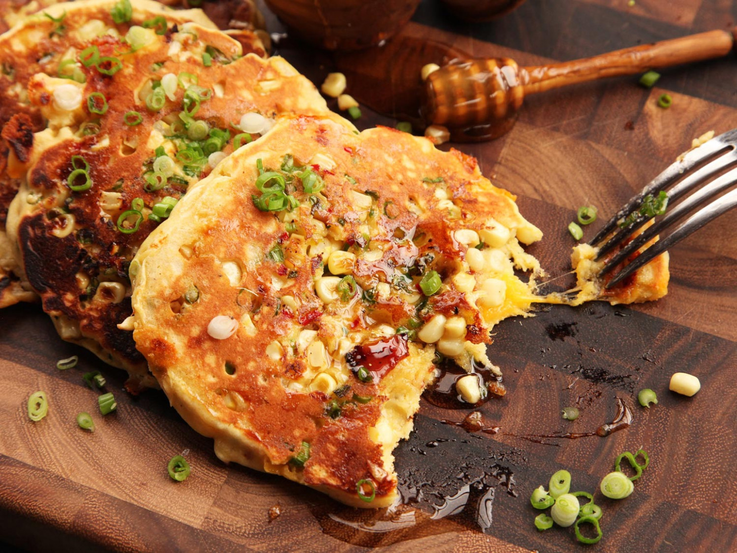 Savory Bacon-Cheddar Pancakes With Corn and Jalapeño Recipe